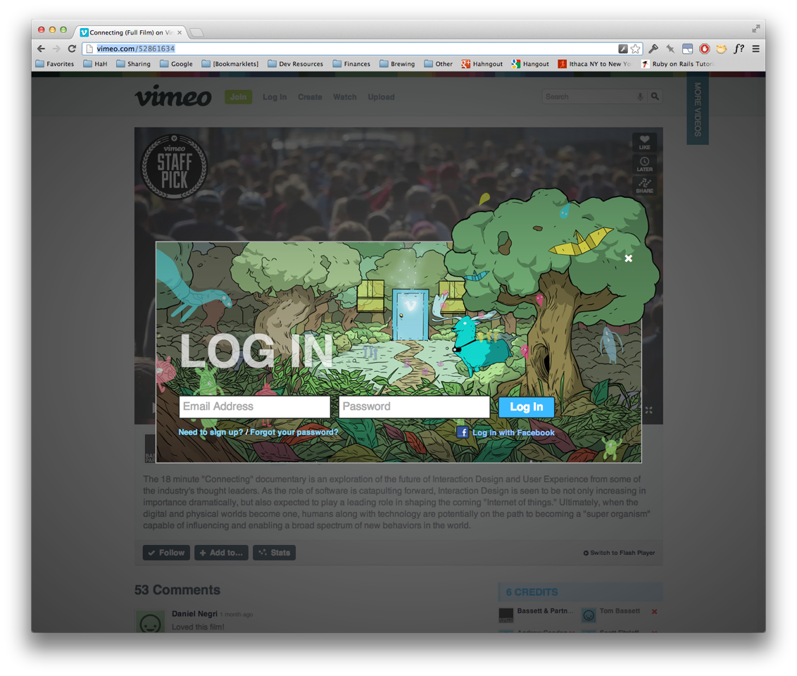 Vimeo Log In Screen