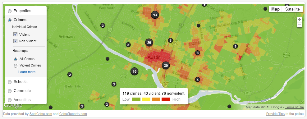 Trulia.com's Austin, TX Crime Map