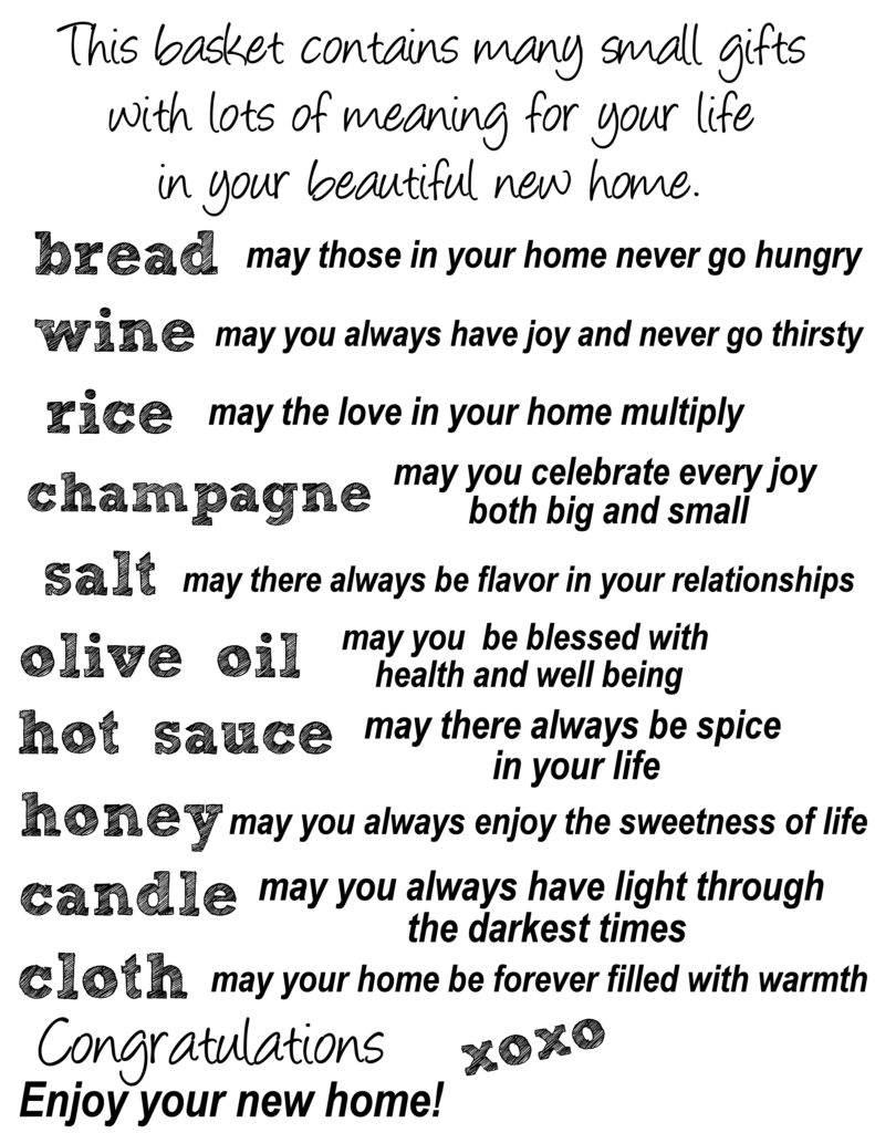 Diy housewarming party gift basket with a sentimental twist - House warming blessing ...